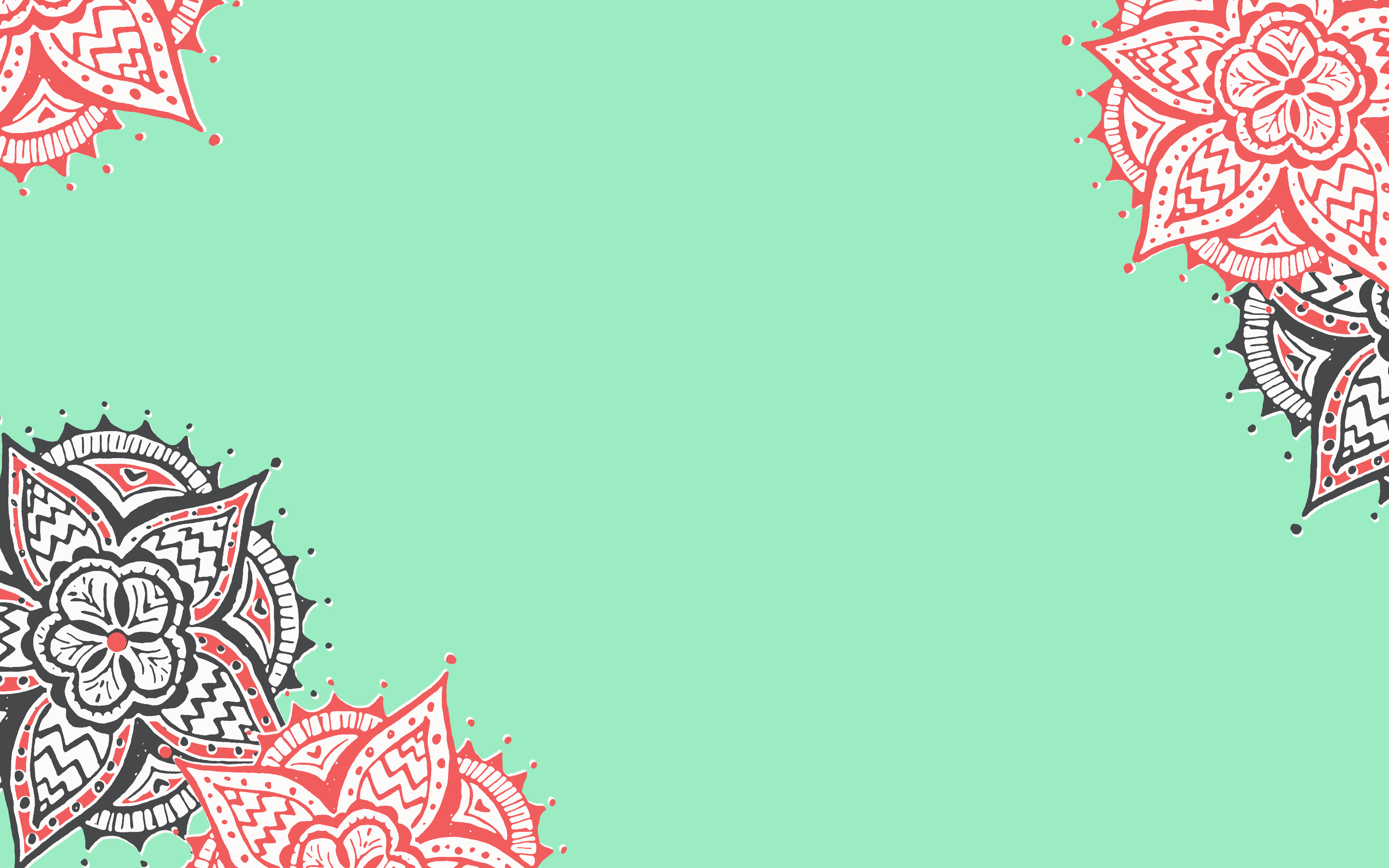 Coral And Mint Green Wallpaper 2880x1800