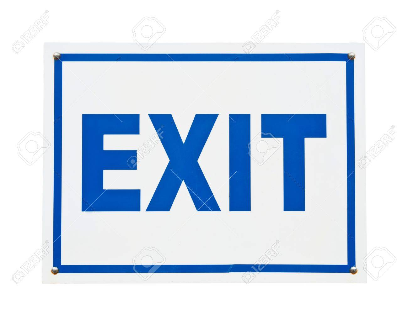 Blue Exit Sign isolated On White Background Stock Photo Picture 1300x1037
