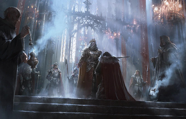 Wallpaper fantasy ritual monk hall knight Kingdom the middle 1332x850