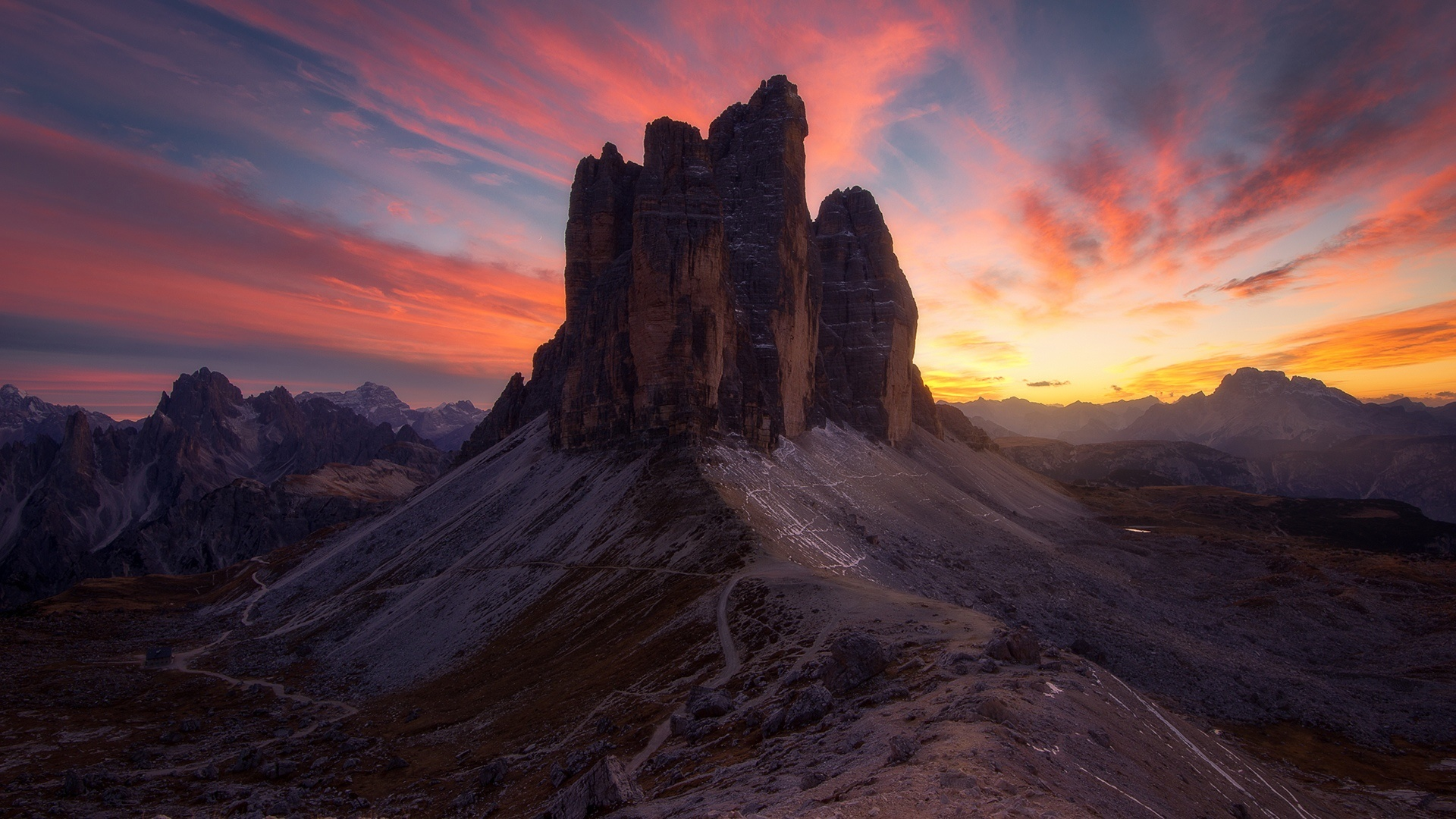 Wallpaper of Canyon Dolomites Earth Italy Rock Sunset 1920x1080
