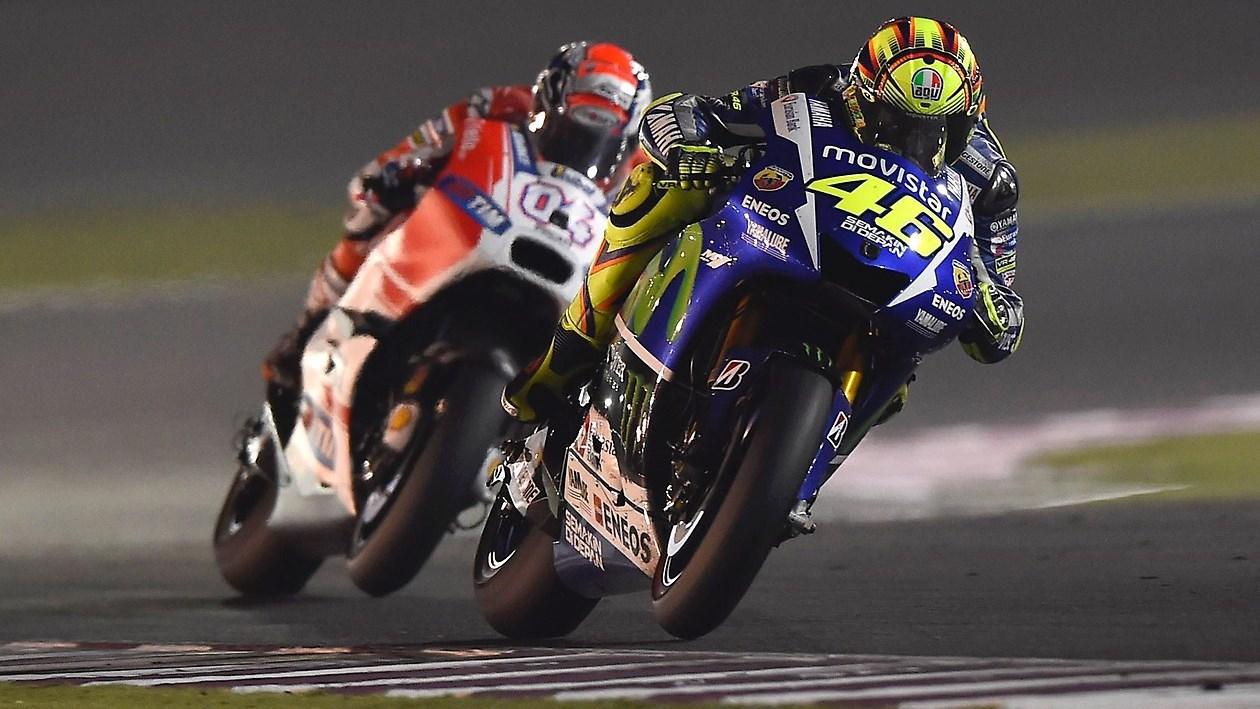 Valentino Rossi Andrea Dovizioso battle MotoGP Qatar 2015 1260x709