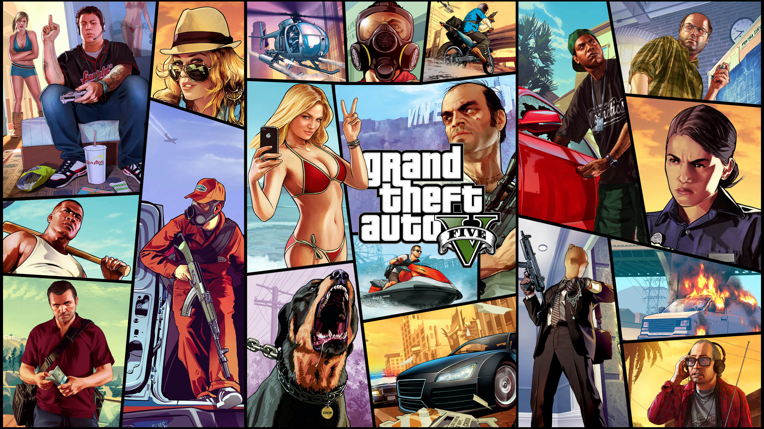 Grand Theft Auto V Wallpaper gta 5 Franklin Michael Trevor Ron 2520x1417