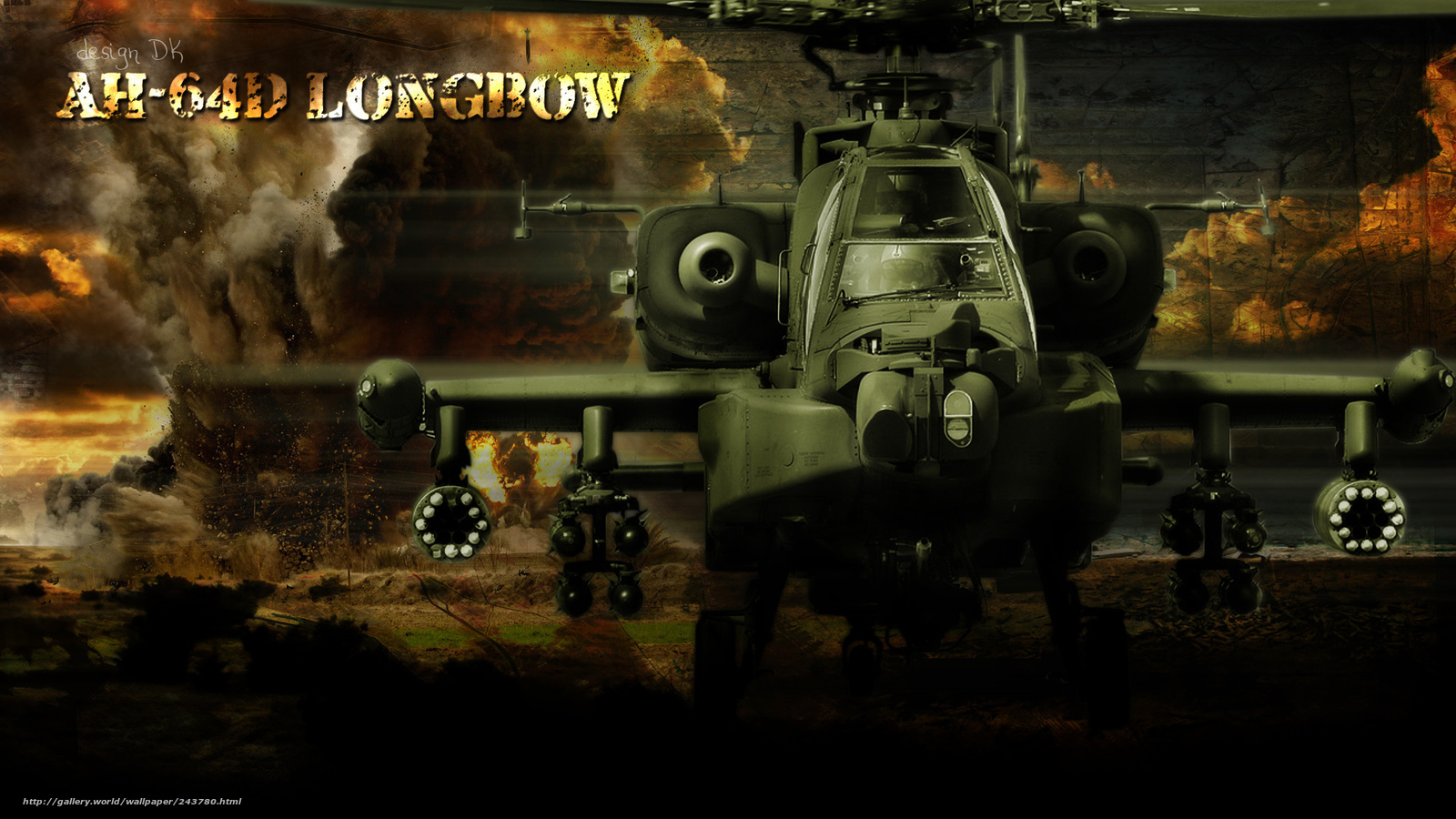 Download wallpaper Helicopter AH 64 Apache desktop wallpaper in 1600x900