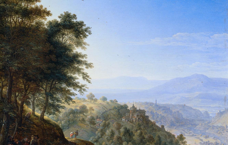 Wallpaper oil picture Herman Saftleven Mountain Landscape in 1332x850