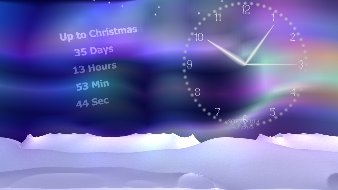 countdown clock screensaver time count up to Christmas and New Year 1280x720