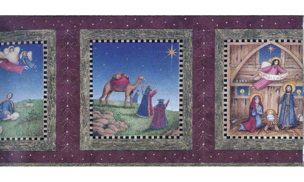 Home Burgundy Nativity Wallpaper Border 1000x600