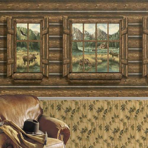 Log Cabin Windows with Moose Wallpaper Mural 500x500