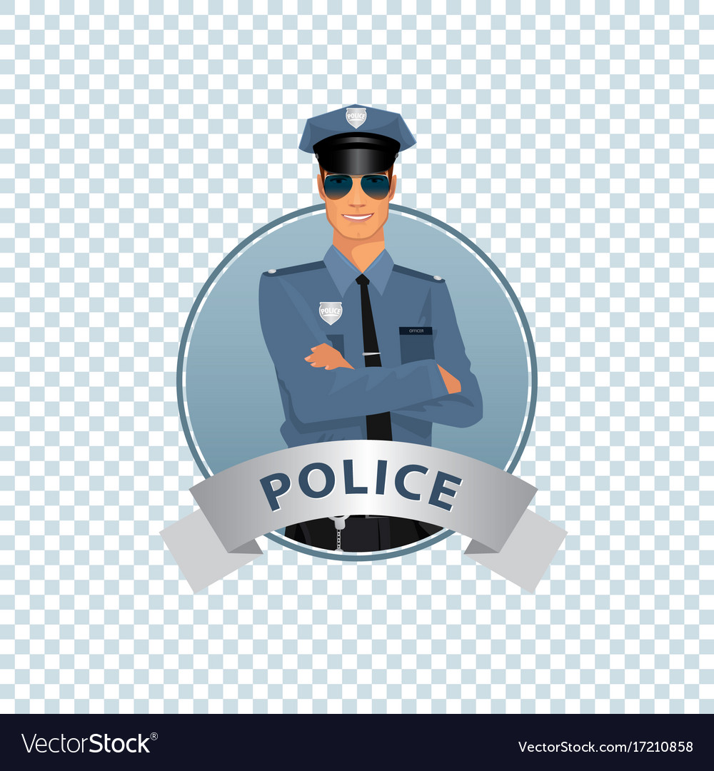 Round icon on white background with policeman Vector Image 1000x1080