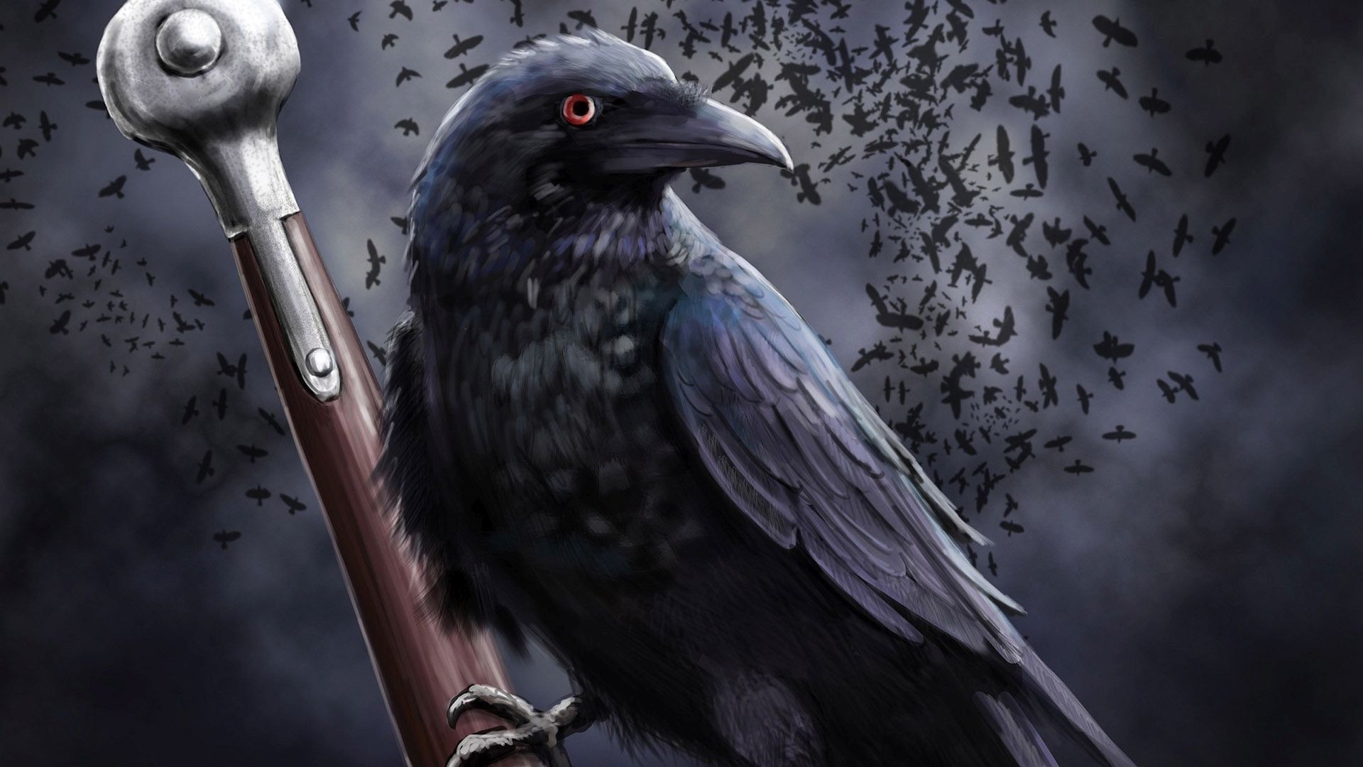 Raven on the sword wallpaper 40116 1920x1080