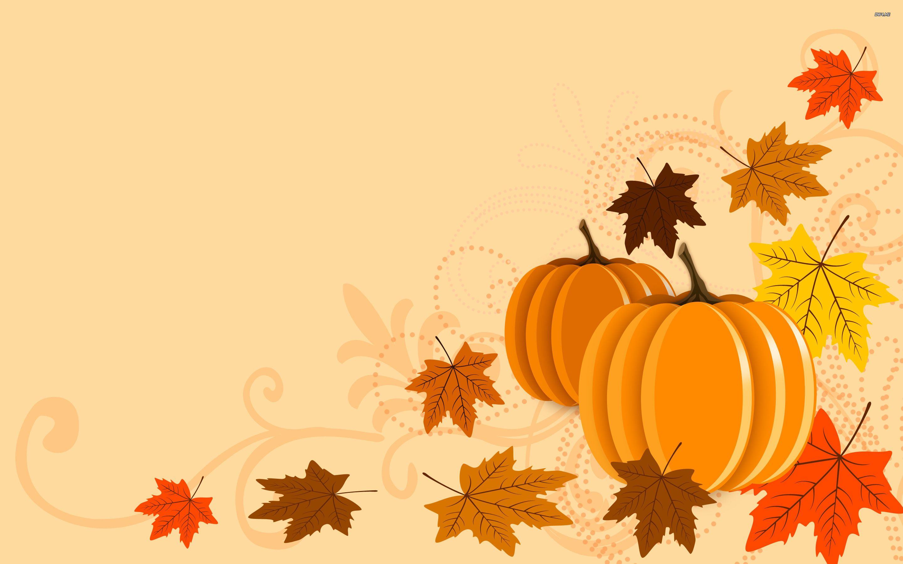 fall wallpaper for computer background Pumpkins and leaves 2880x1800