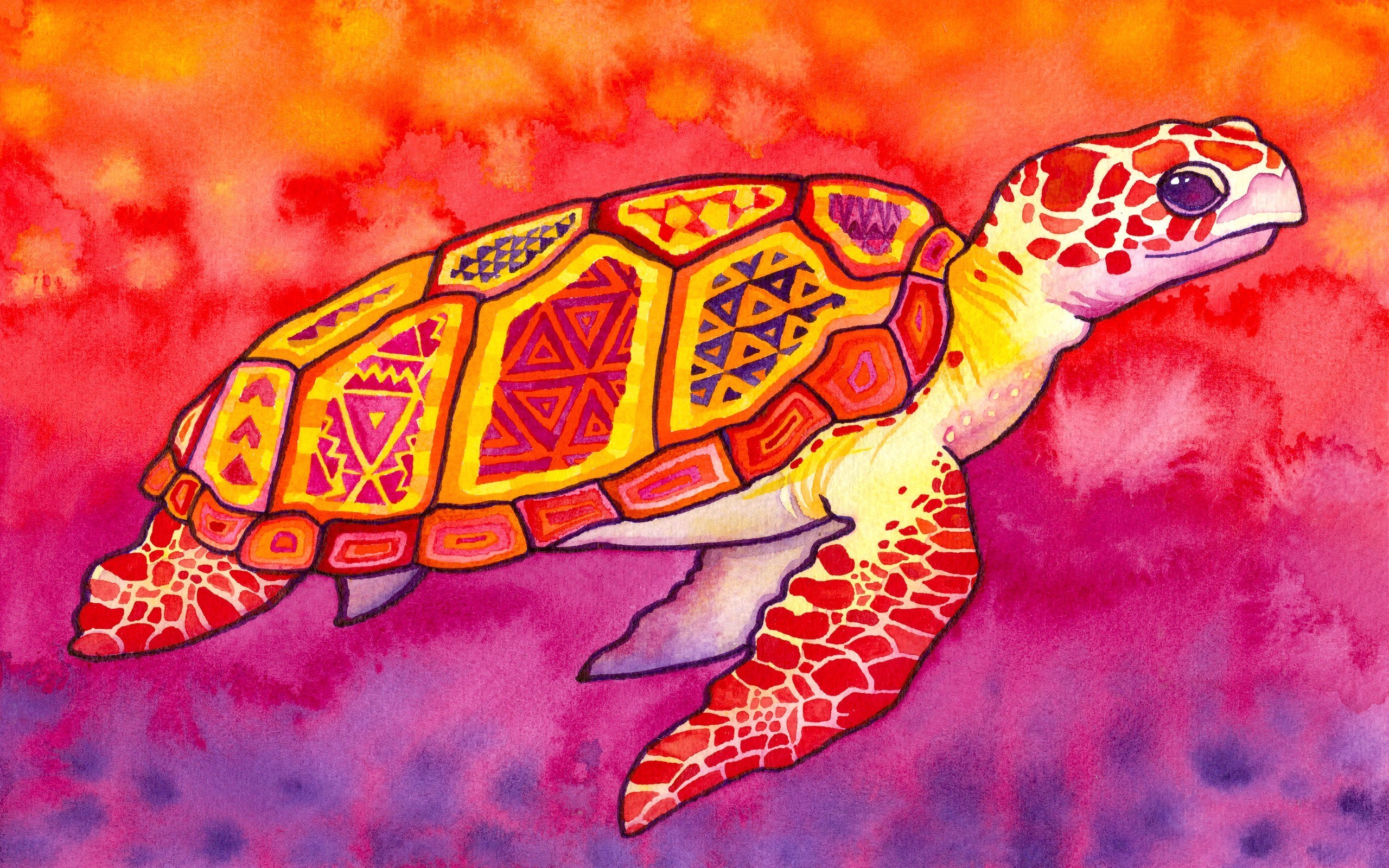 Sea Turtle Artwork 2560x1600