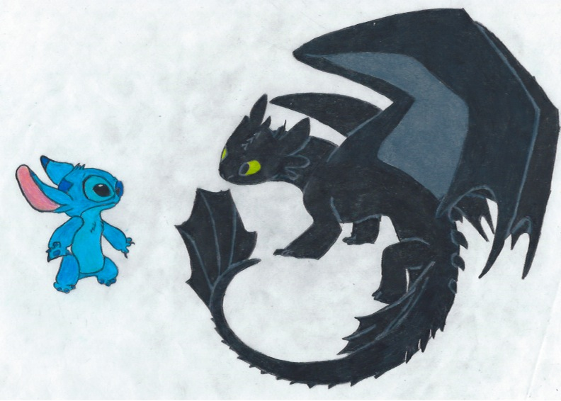 Stitch and Toothless by ShadowWolf1456 792x566