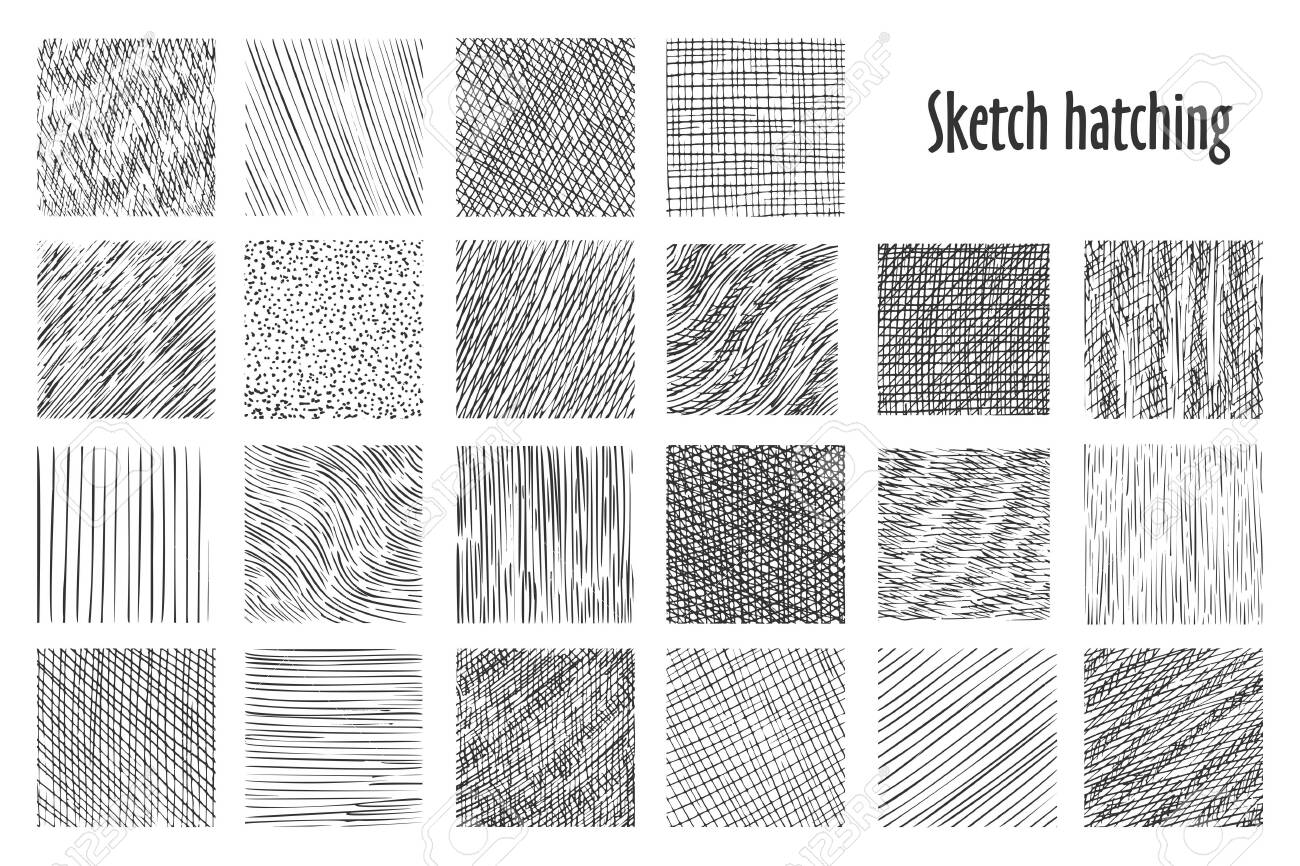 Sketch Hatching Patterns Abstract Hand Drawn Vector Backgrounds 1300x866