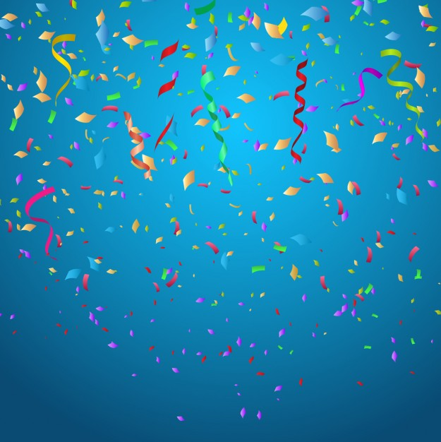 Colorful confetti on blue background Vector Download 625x626