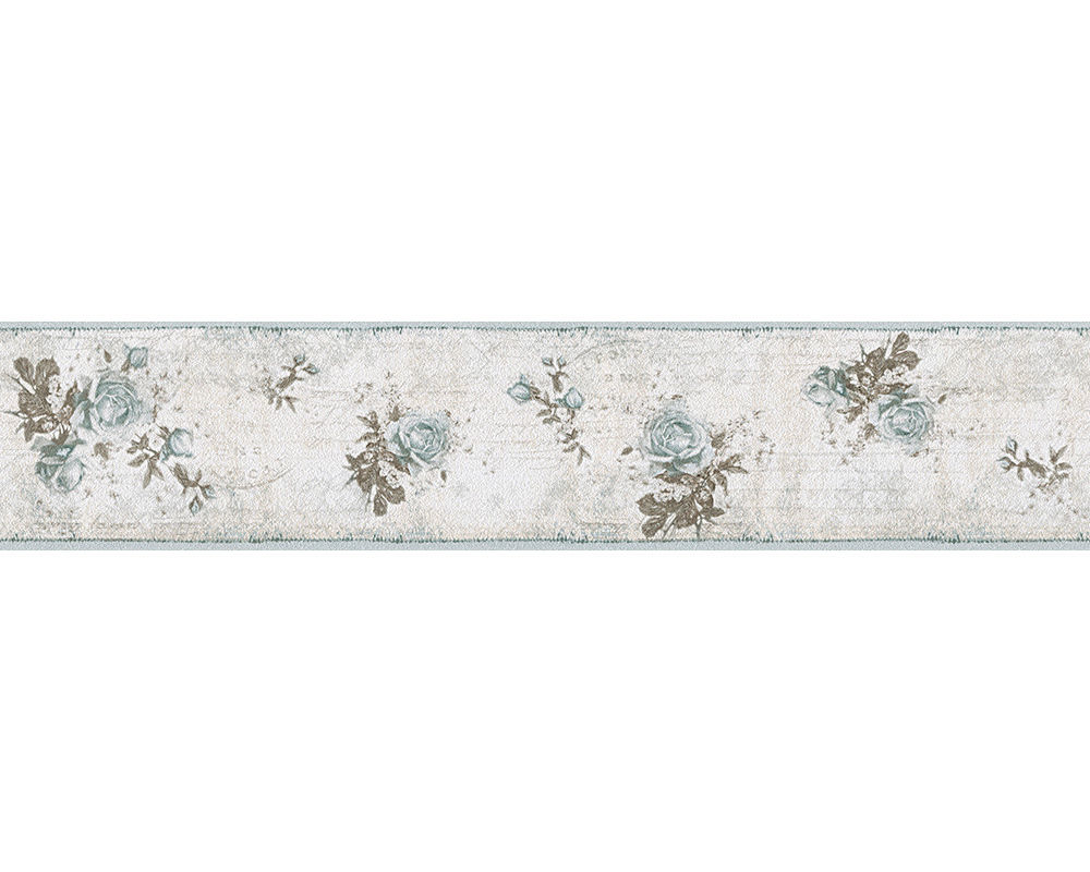 Free Download Shabby Chic Vintage Blue Rose Floral Wallpaper 5mtr