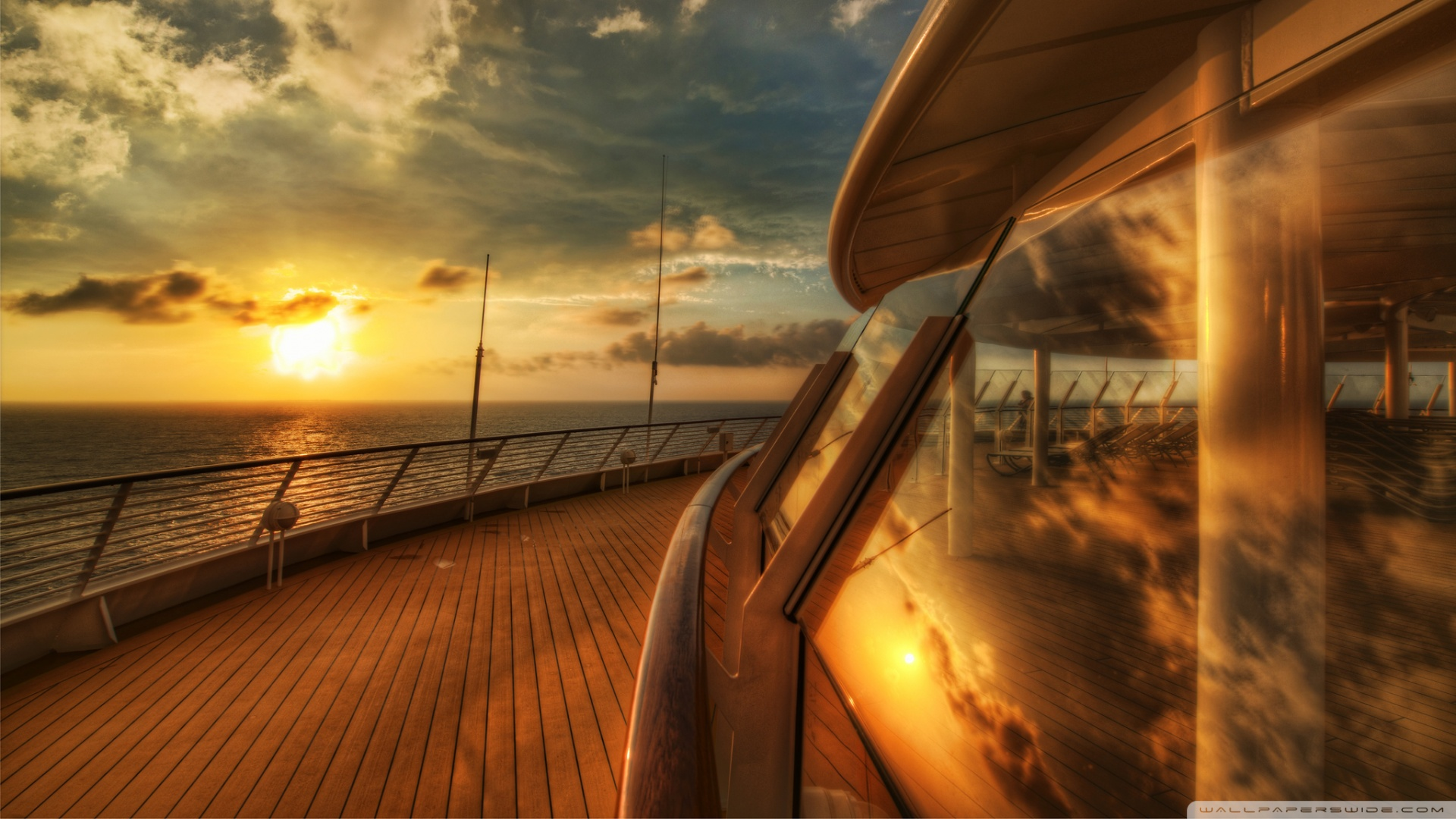 Cruise Ship Deck Sunset Wallpaper 1920x1080 Cruise Ship Deck Sunset 1920x1080