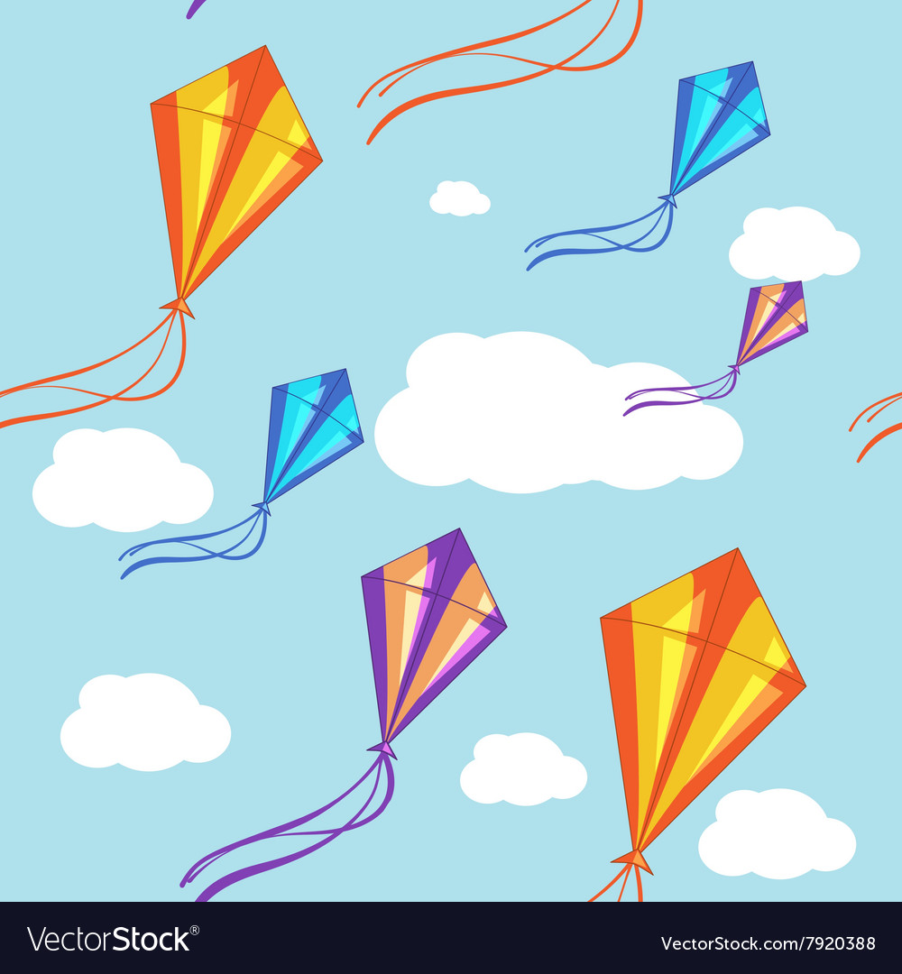 Seamless background with colorful kites in Vector Image 1000x1080