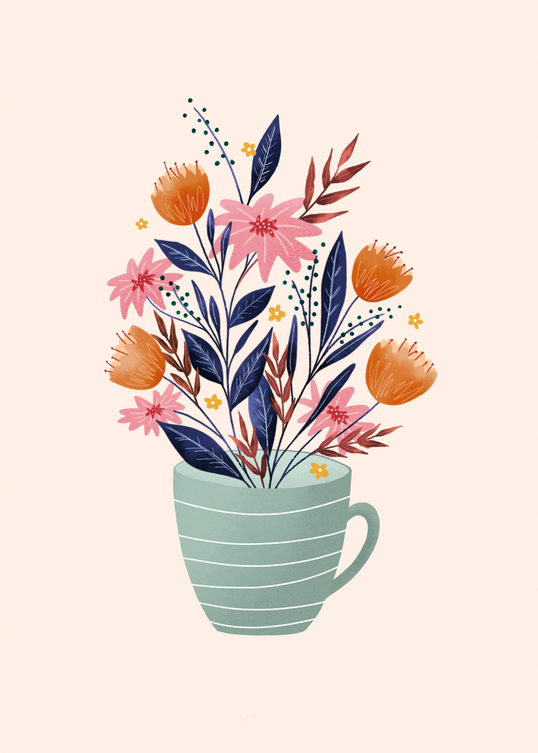 Cup of flowers desktop phone and tablet wallpaper Make and Tell 1829x2560