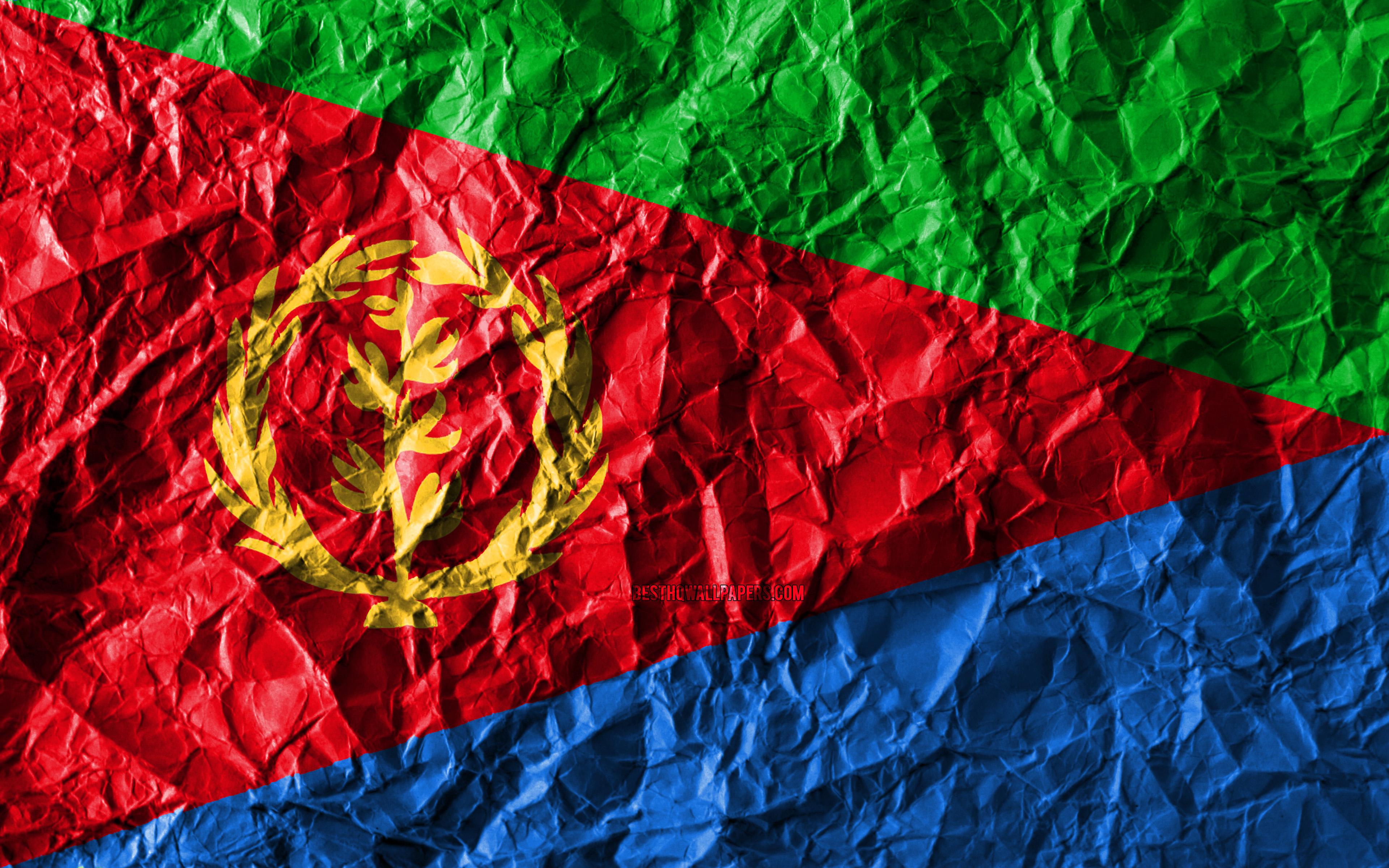 Download wallpapers Eritrean flag 4k crumpled paper African 3840x2400