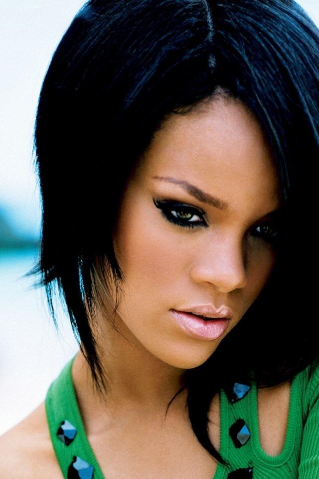 640x960 Rihanna Green Blouse Iphone 4 wallpaper 640x960