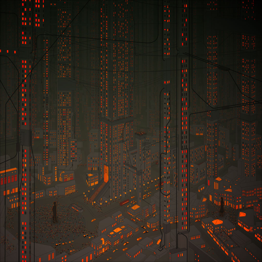Dark Future City Vector iPad Wallpaper 1024x1024