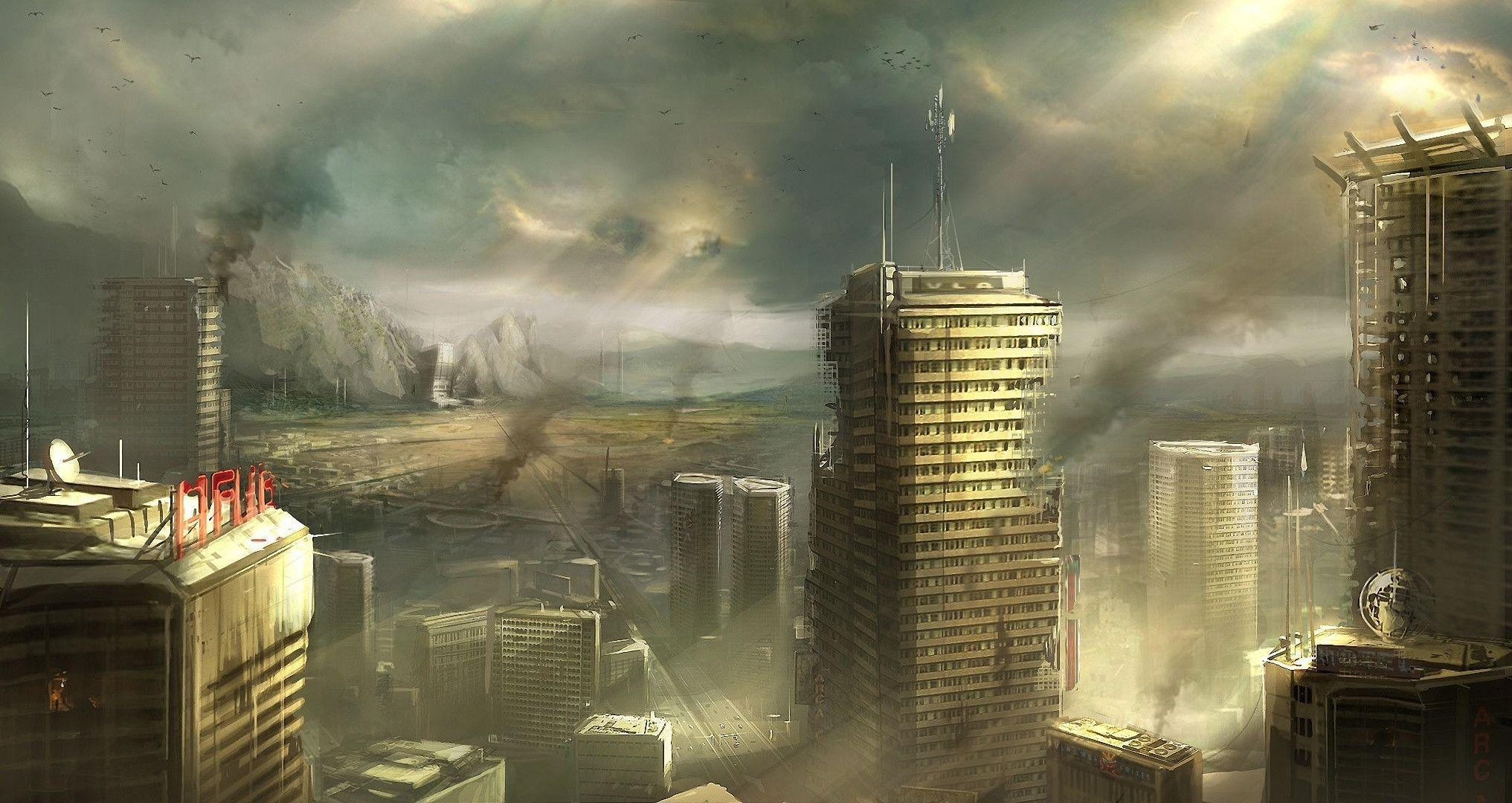 Destroyed City Backgrounds 2033x1080
