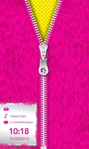 Pink Fur Zipper Lock Screen XL App for Android 307x512