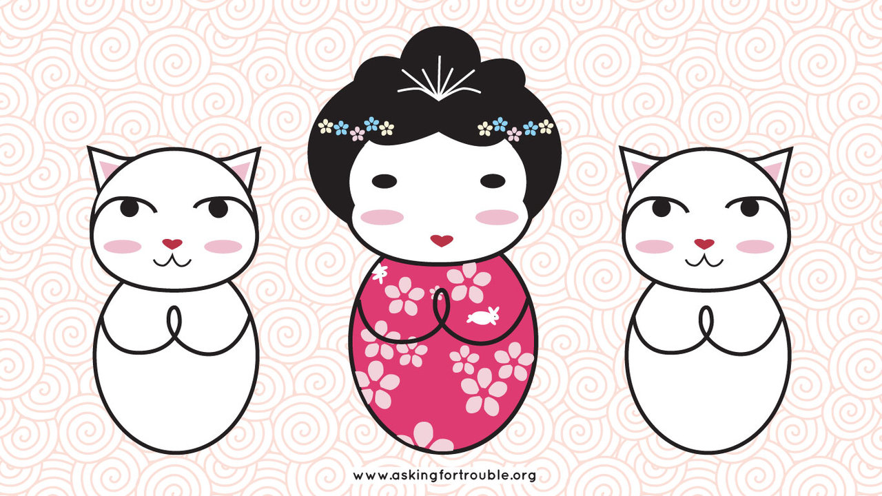 Desktop Wallpaper   Kokeshi and Lucky Cat by askingfortrouble on 1280x720