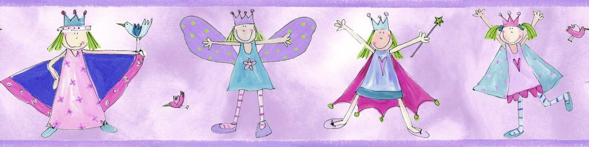 Fairy Princess Peel and Stick Kids Wallpaper Border 1200x300