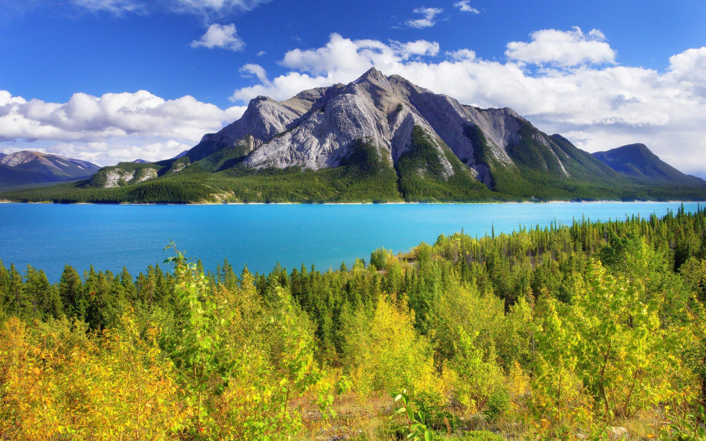 Download wallpapers Abraham Lake summer mountain blue lake 2880x1800