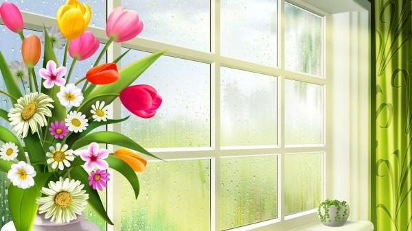 in the Vase by the Window widescreen wallpaper Wide WallpapersNET 600x337