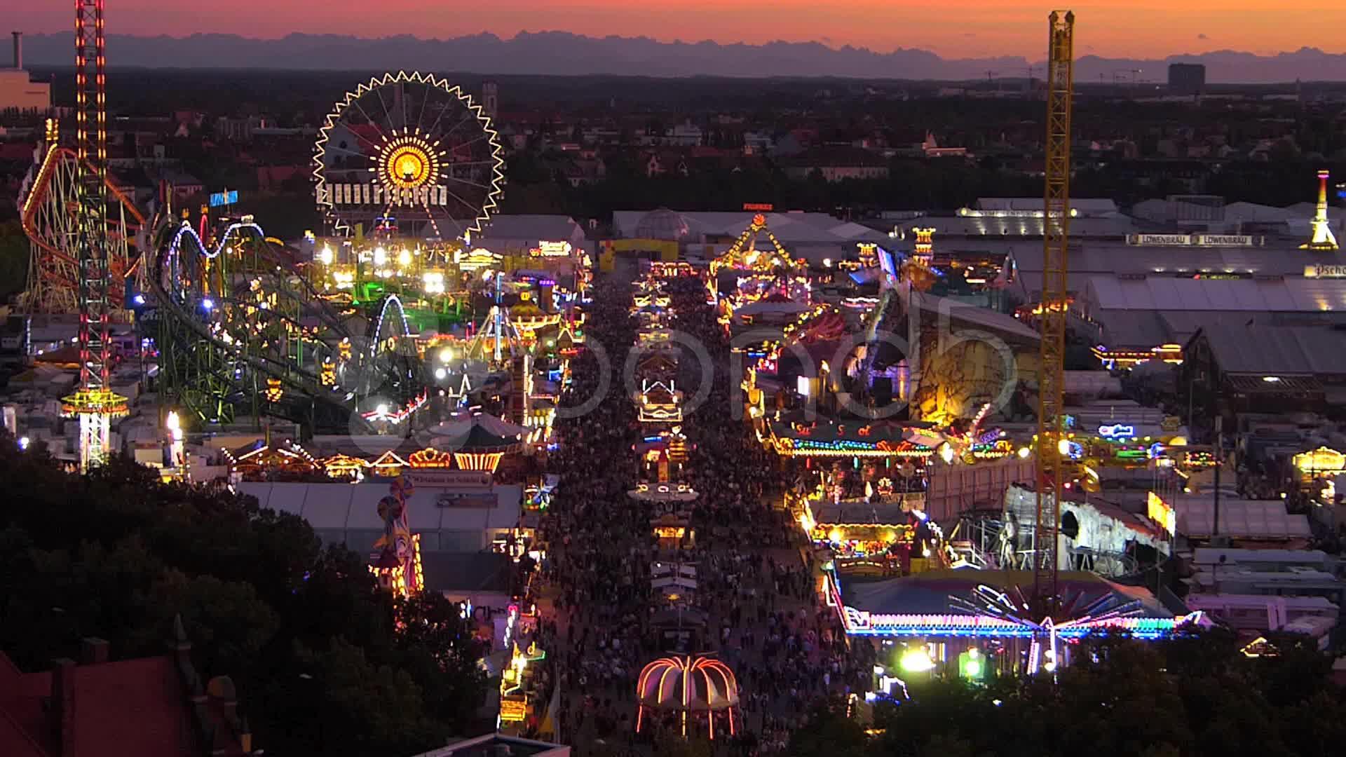 Skyline Oktoberfest Germany Munich Beer Festival Ferris 1920x1080
