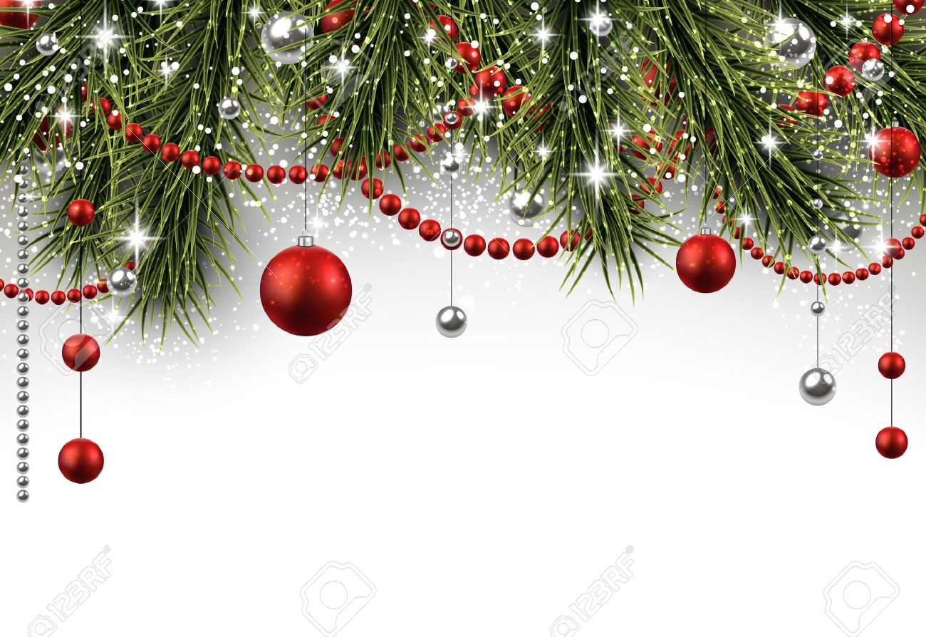 Christmas Background With Fir Branches And Balls Royalty 1300x894
