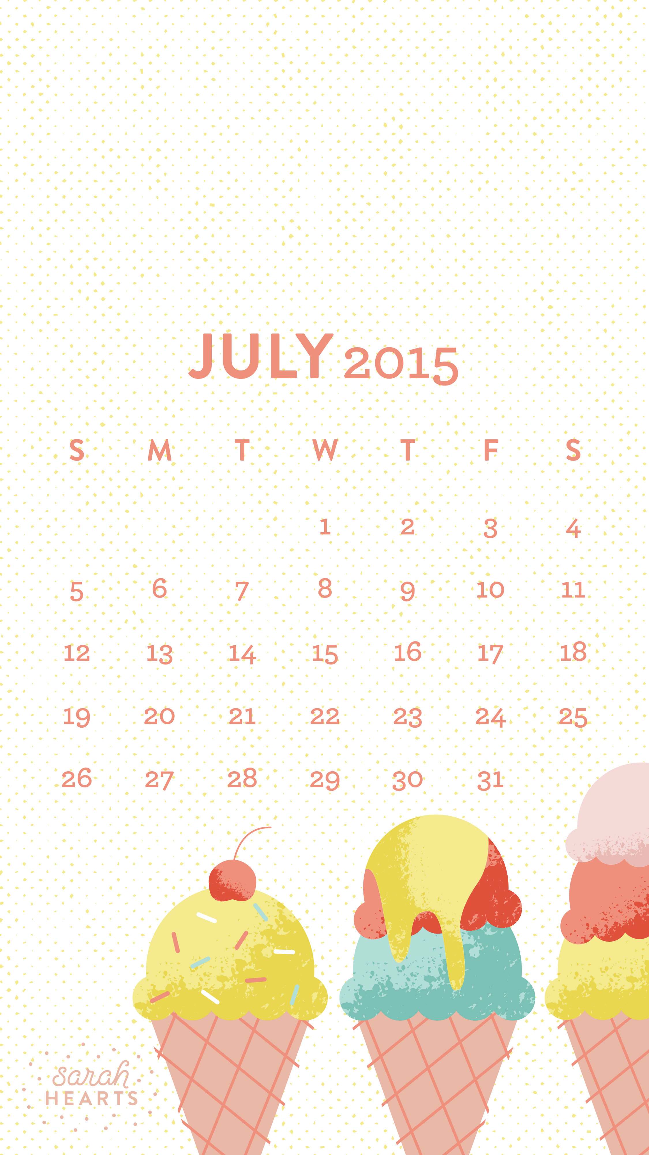 July 2015 Calendar Wallpaper   Sarah Hearts 2250x4000