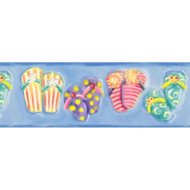 Flip Flops on Ocean Blue Wallpaper Border   All 4 Walls Wallpaper 650x650