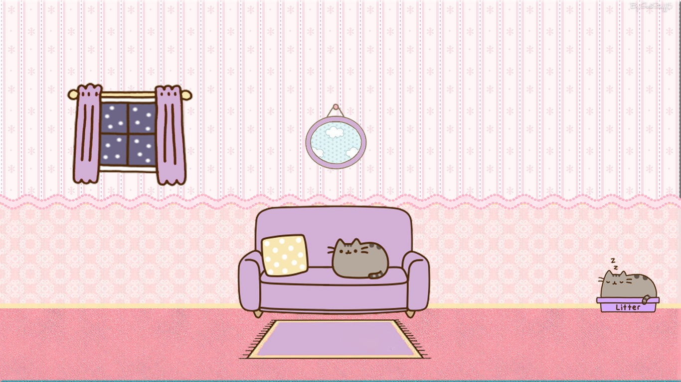 Pusheen Cat Wallpaper By GirlStuff15 by girlstuff15 1366x768