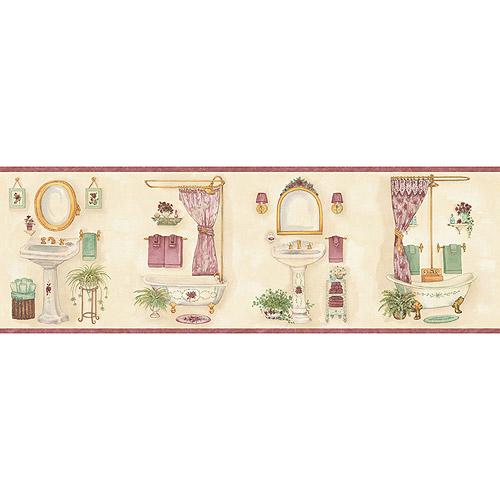 Blue Mountain Vintage Bathroom Wallpaper Border Pink   Walmartcom 500x500