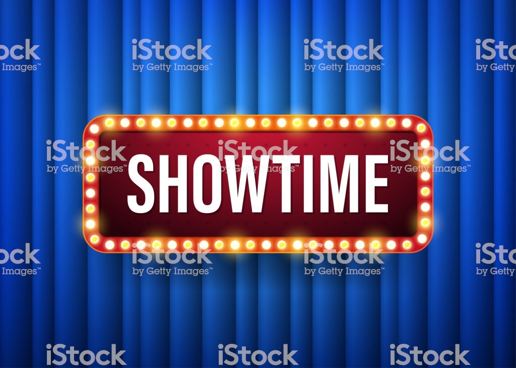 Showtime Text With Electric Bulbs Frame On Blue Background Vector 1024x732