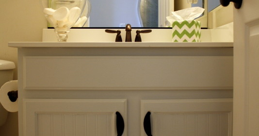 Bathroom Cabinets A Fresh Update with Paint and Beadboard Wallpaper 534x280