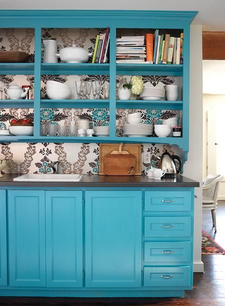 Remove the kitchen cupboards wallpaper the back wall and repaint the 450x612