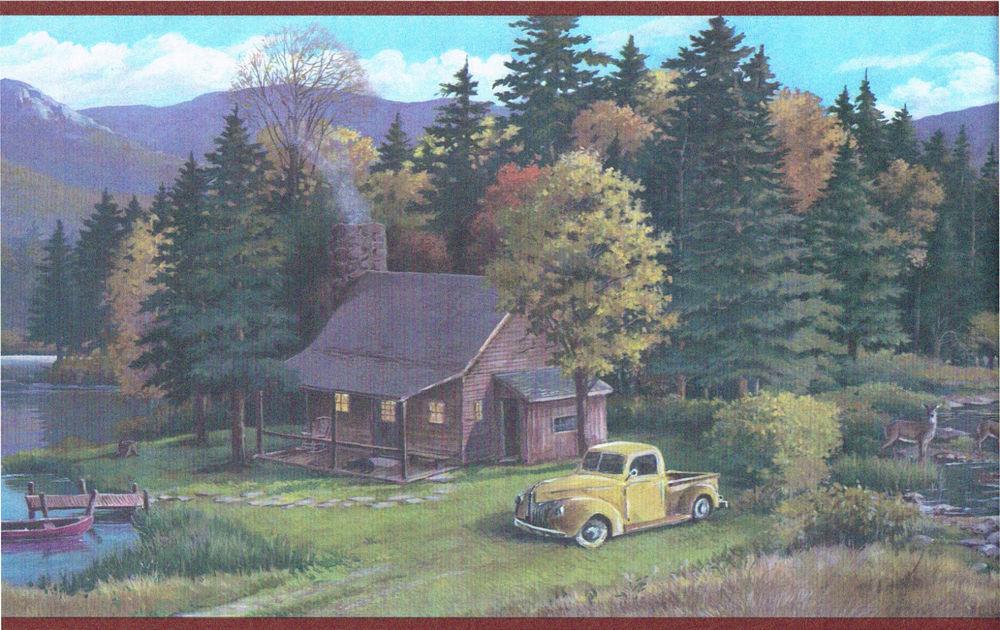 Cabin Hunting Wood Lake Pine Trees Mountain Wildlife Wallpaper Border 1000x630
