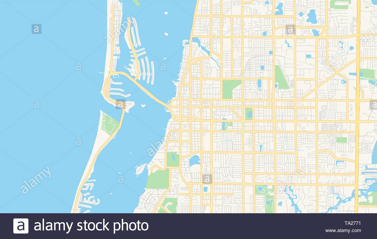 Empty vector map of Clearwater Florida USA printable road map 1300x826