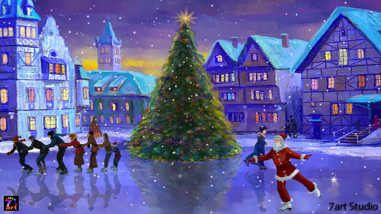 Download Ice Christmas Rink Live Wallpaper Freeware 1280x720