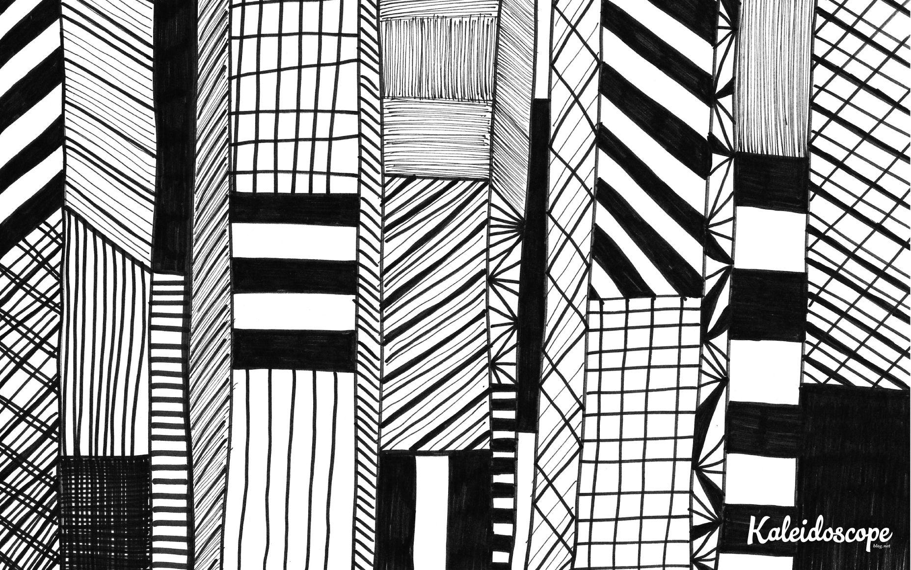 Black and white hand drawn geometric pattern computer desktop 1856x1161