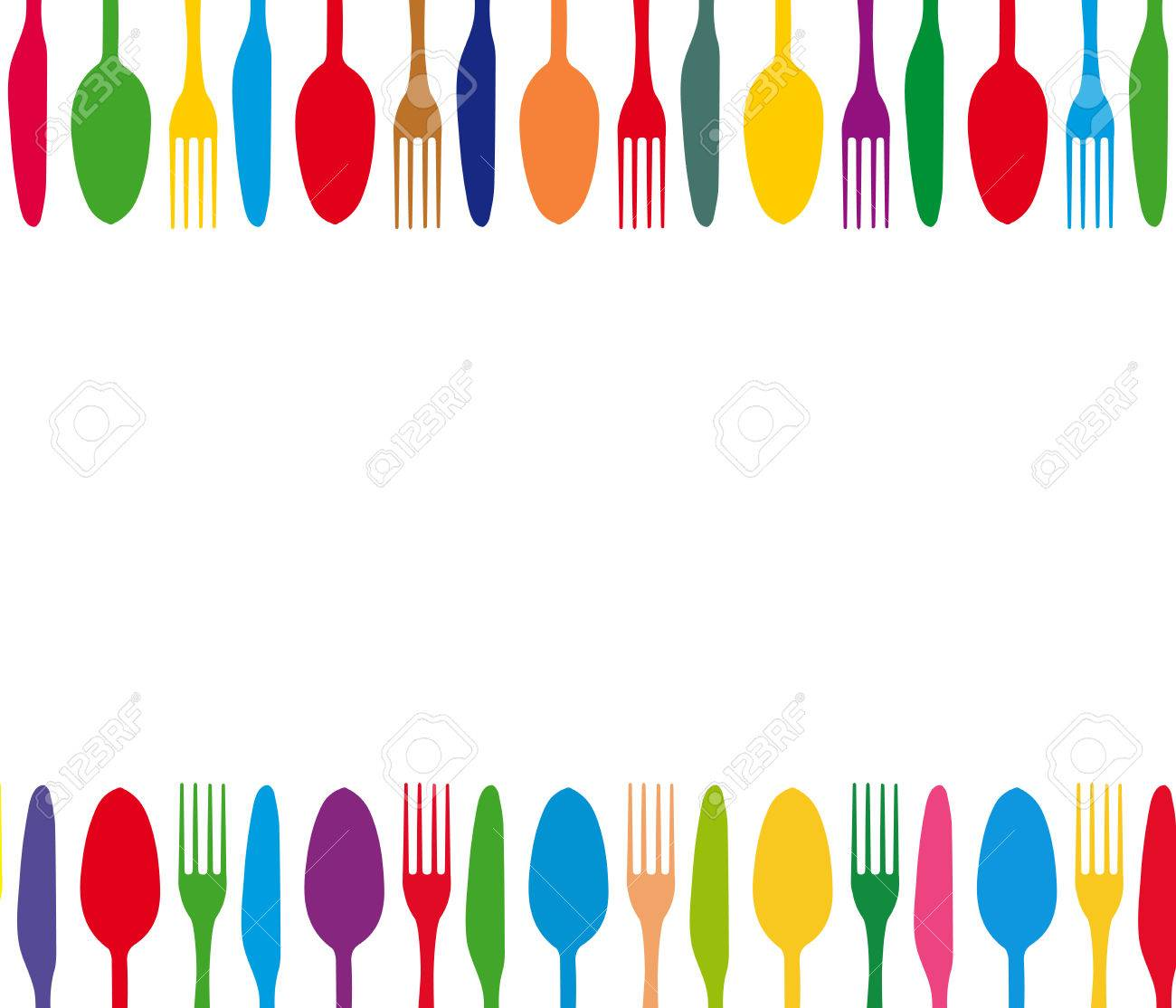 Cutlery Color Background Menu With Cutlery Vector Illustration 1300x1114