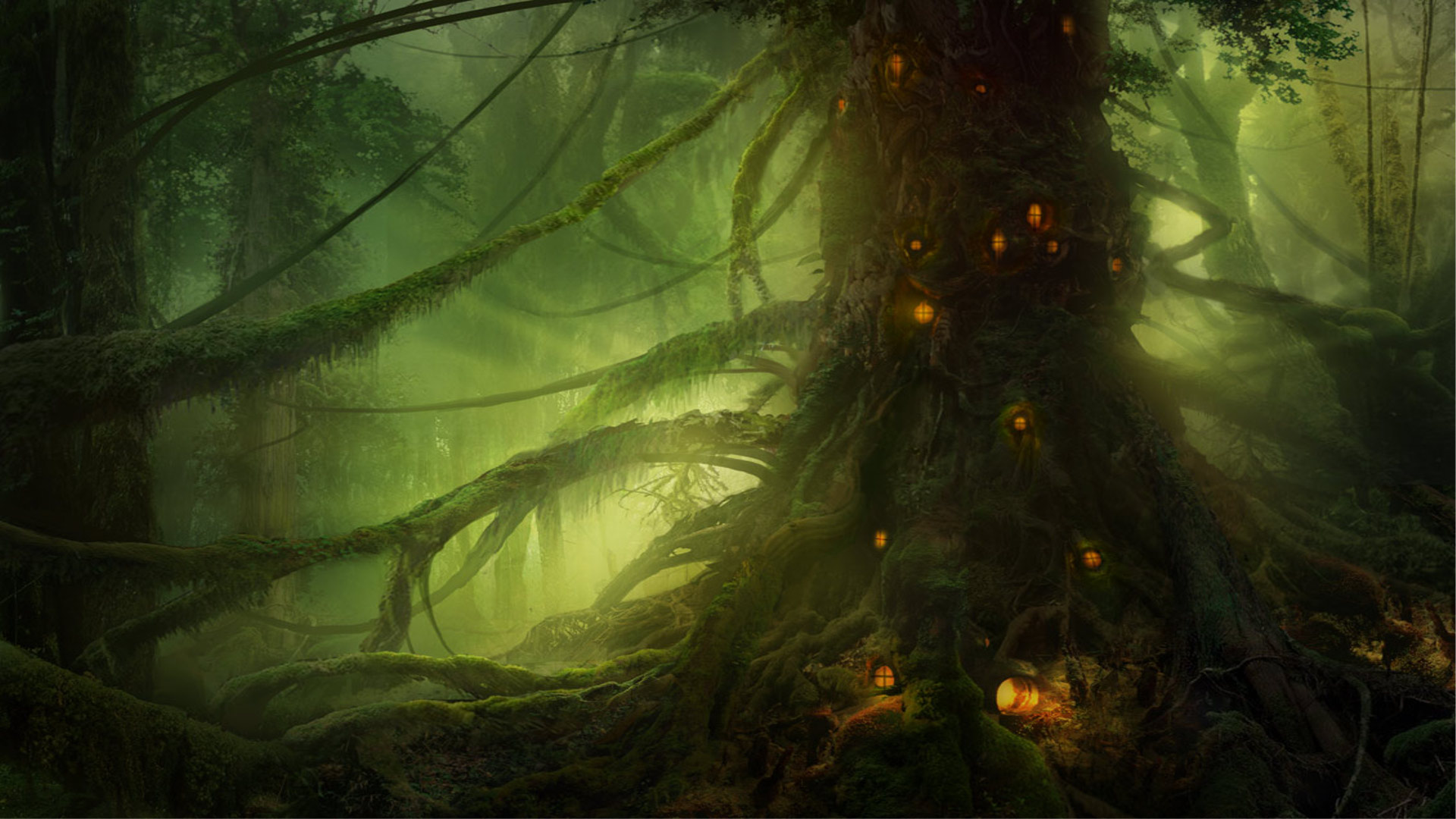 Wallpapers Forest Abstract Anime Art Drawing Fantasy Forest Light 1920x1080