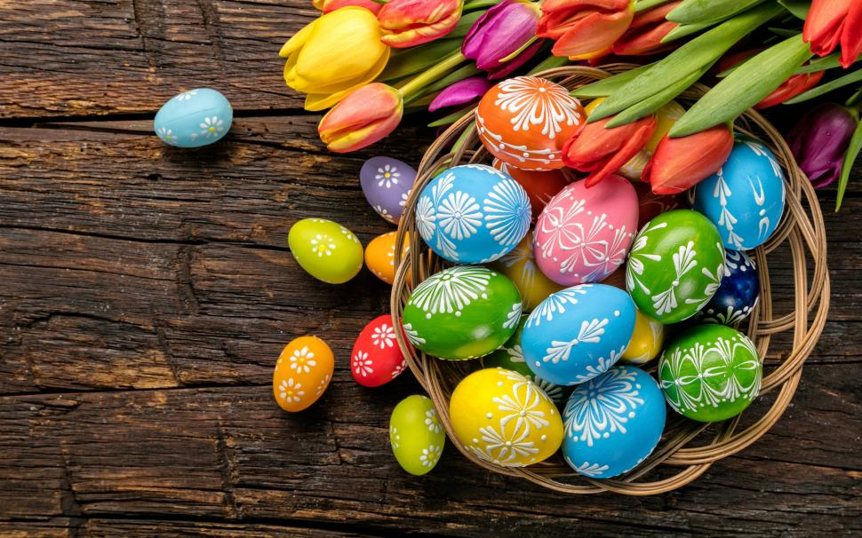 easter eggs colorful tulips wood basket 2K wallpaper middle size 970x606