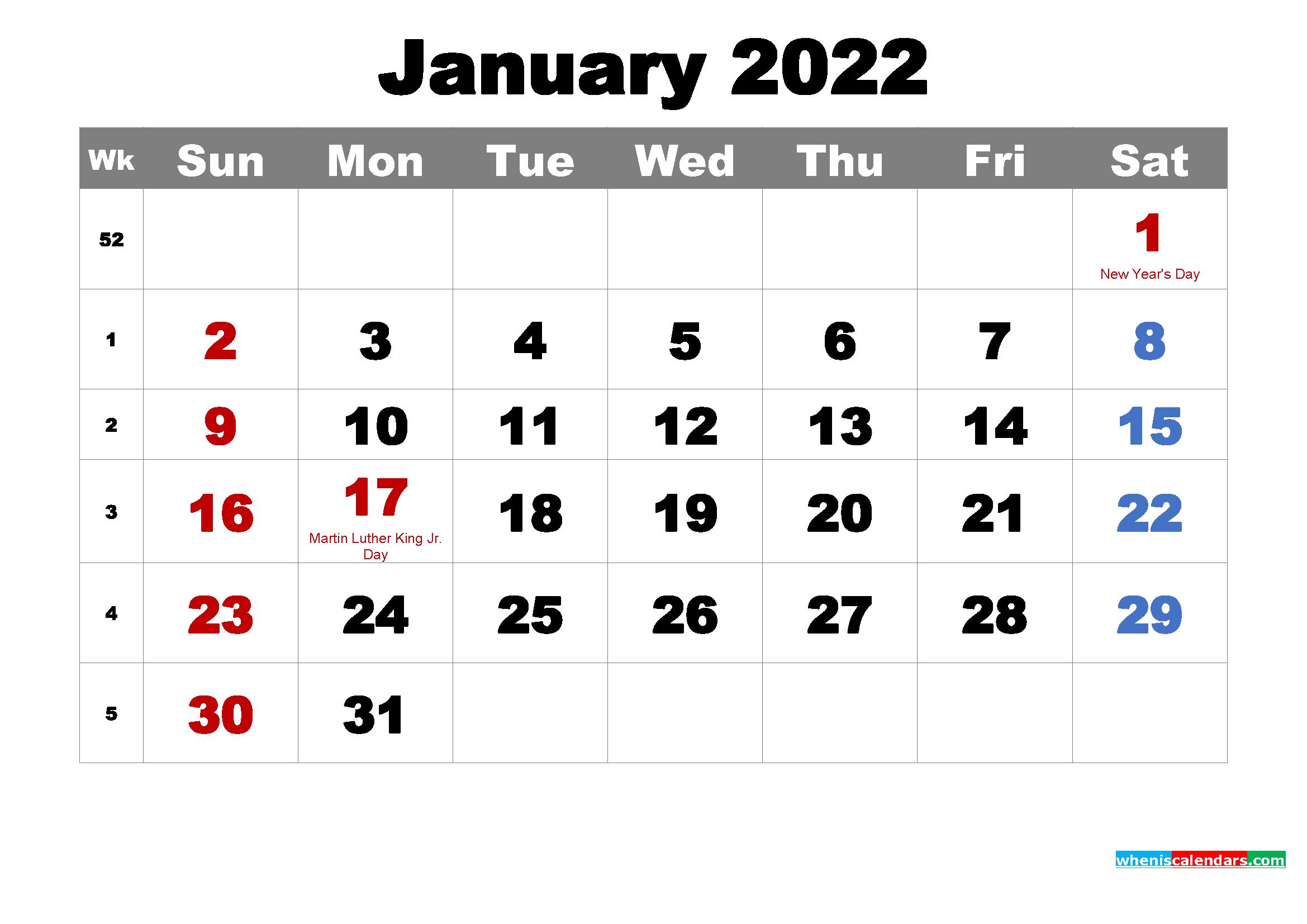 Printable January 2022 Calendar Wallpaper 2339x1654