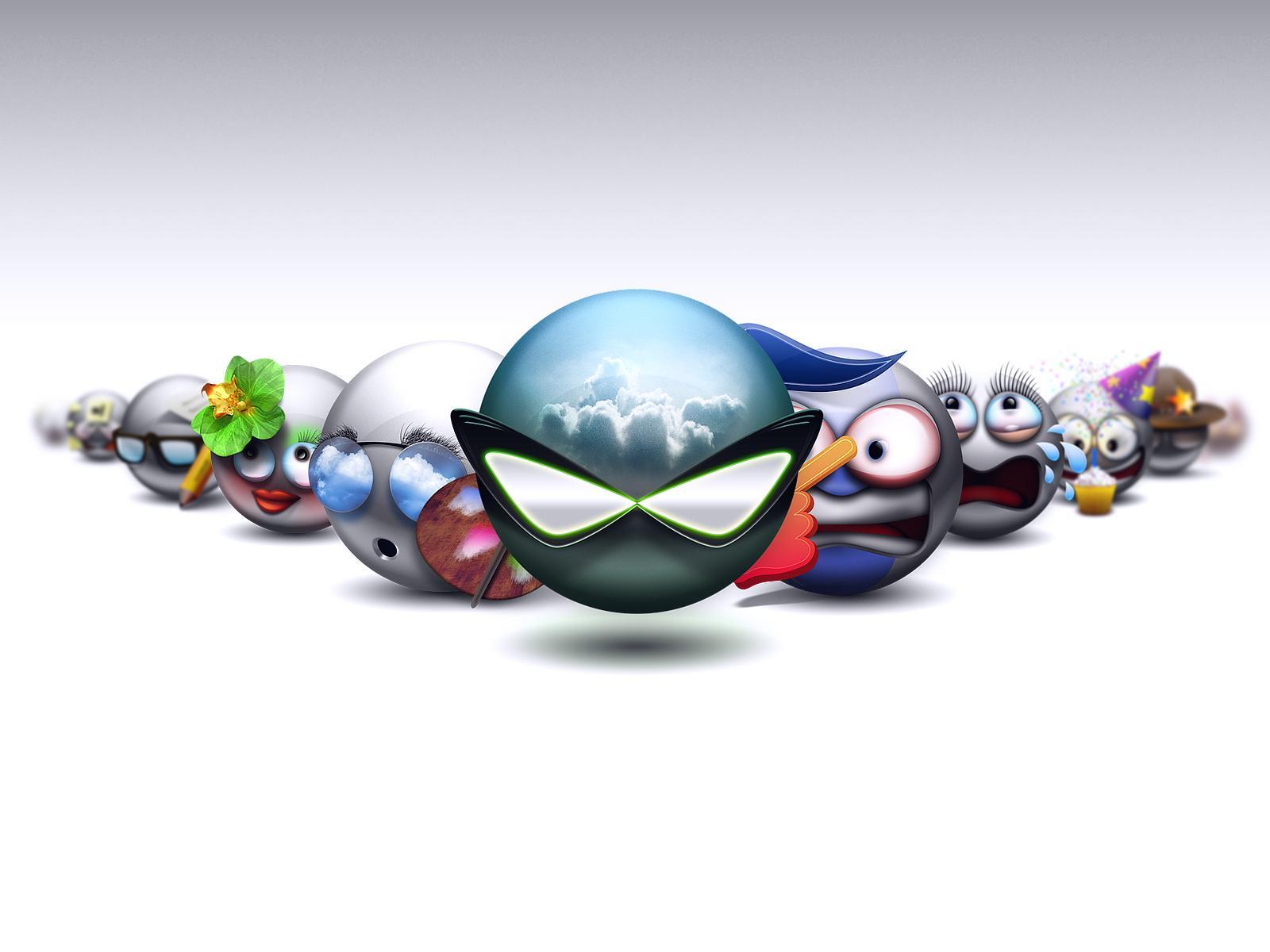 smiley faces Digital 3d desktop wallpaper screensaver background 1600x1200