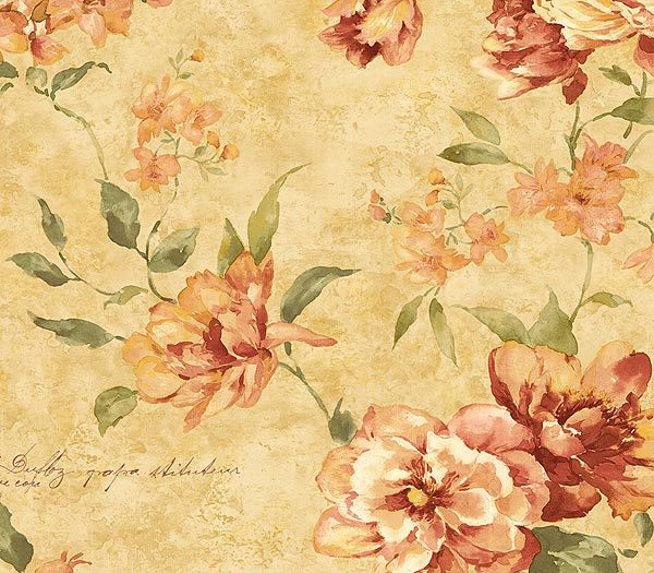 Coral Romance Floral Trail Wallpaper   Traditional Wallpaper 600x525